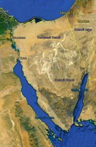 вид со спутника, горное плато, пустыня, Синай, Египет
