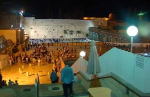 Cтена плача, ночь, город трёх религий, Израиль, христианство, Jerusalem