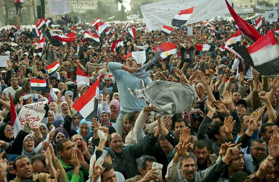 revolution of egypt For example, during the egyptian revolution, the egyptian flag was taken over by people on the revolutionary side, and it became a symbol of the revolution itself but it was very easy, because of the vagueness of the symbol, for the counterrevolution to reclaim it for its side.